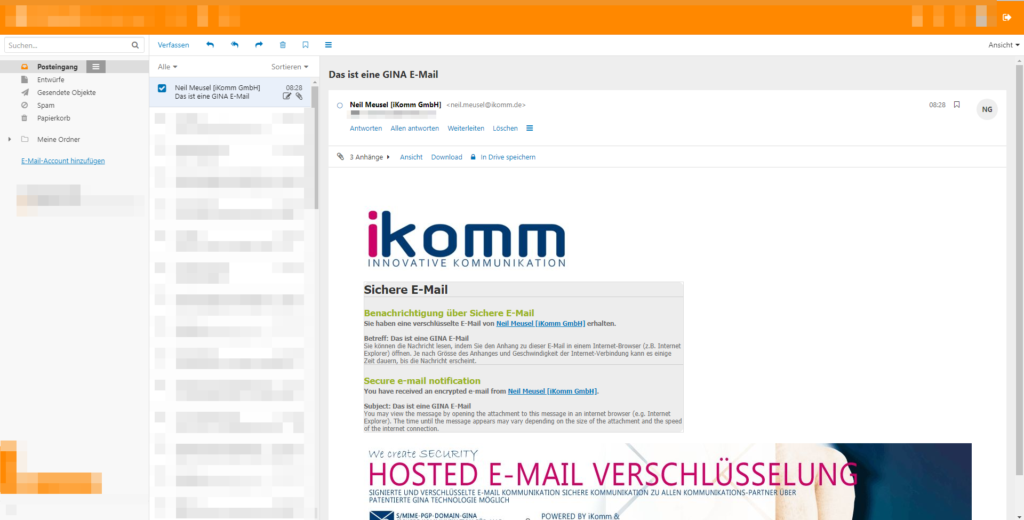 Mit der iKomm sicher und verschlüsselt kommunizieren - Neue E-Mail1
